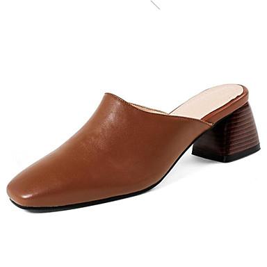 Chaussures Marron 06655975 amp; Mules carré Sabot Femme Confort Eté Cuir Bottier Noir Bout Talon Blanc d6Y4q6OnZW