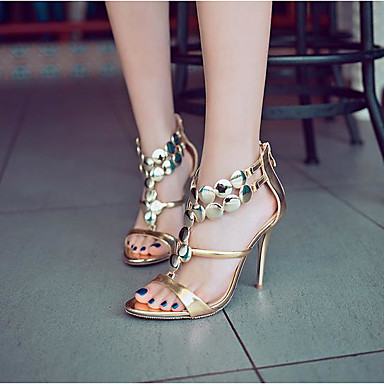 ouvert Eté Femme Escarpin Basique Chaussures synthétique à Argent Chaussures de PU Aiguille Talon Talons Or Bout microfibre 06683476 Rouge wnxHn64q