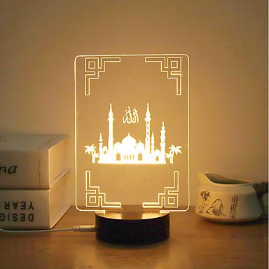 1kpl 3D Nightlight Ciepła biel USB Twórczy / Stres i niepokój Relief / Dekoracja 5V