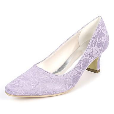 Pentru femei Pantofi Satin Primavara vara Balerini Basic pantofi de nunta Blocați călcâiul Vârf pătrat Verde / Albastru / Cristal / Nuntă