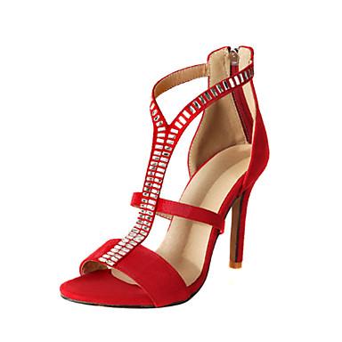 Nouveauté 06671811 Nubuck Bleu Cristal ouvert Printemps Cuir été Talon Daim Confort Sandales Femme Bout Aiguille Rouge Chaussures Noir gT0wfcq
