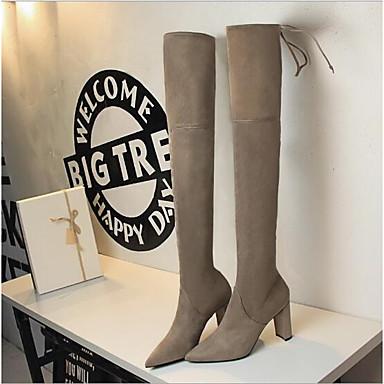Cachemire Bottes bottes Automne Chaussures 06668999 Kaki Noir Confort Talon slouch Femme Bottier 5xnTwYI