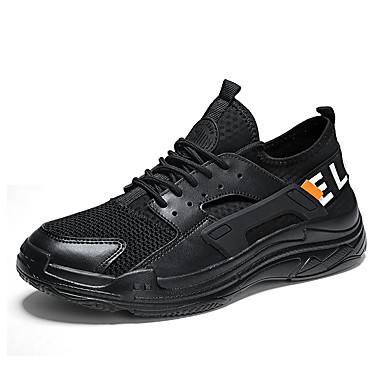 Męskie Buty Syntetyczny Microfiber PU / Tiul Jesień Comfort Buty do lekkiej atletyki Bieganie / Spacery White / Black