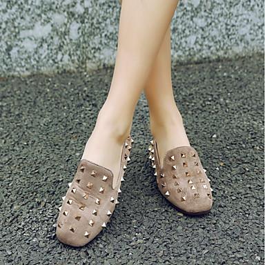 Ballerines Jaune Printemps Talon Bout Automne Chaussures carré Noir Confort Nubuck Plat Cuir Beige Femme Rivet 06664005 xY60fqw6