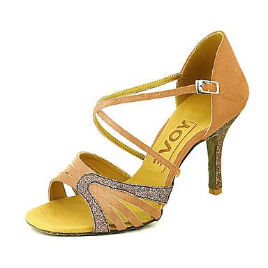 Pentru femei Pantofi Dans Latin / Sală Dans / Pantofi Salsa Satin / Imitație de Piele Sandale Cataramă Toc Personalizat Personalizabili