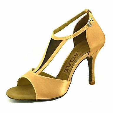 Mulheres Sapatos de Dança Latina / Sapatos de Salsa Cetim Sandália / Salto Presilha / Cadarço de Borracha Salto Personalizado Personalizável Sapatos de Dança Amarelo / Fúcsia / Púrpura / Espetáculo