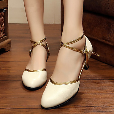 baratos Shall We® Sapatos de Dança-Mulheres Pele Sapatos de Dança Moderna Salto Salto Personalizado Personalizável Branco / Preto / Vermelho / Interior