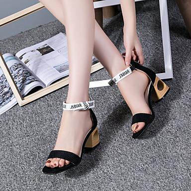 06679036 Zapatos Verano Cuadrado Sandalias Rosa Negro Confort Mujer PU Tacón gBOqwwCz
