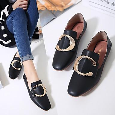 Pentru femei Pantofi PU Primăvară Confortabili Mocasini & Balerini Toc Drept Negru / Bej