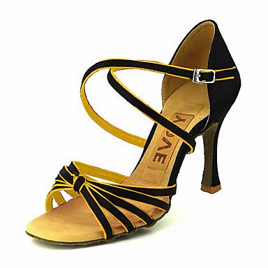 Damen Schuhe für den lateinamerikanischen Tanz / Ballsaal Satin Sandalen Schnalle Maßfertigung Tanzschuhe Gelb / Fuchsia / Lila / Wildleder