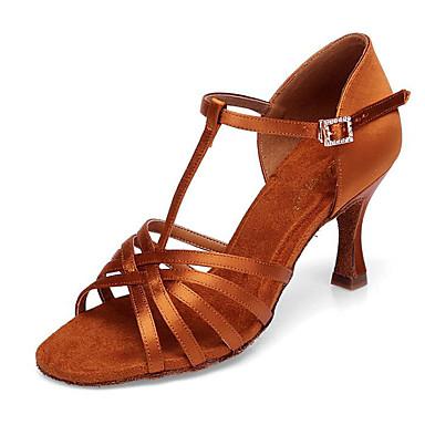 Pentru femei Pantofi Dans Latin Mătase Călcâi Subțire superioară Pantofi de dans Auriu / Performanță / Piele / Antrenament