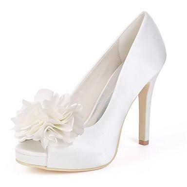 Talon Blanc ouvert Femme 06668714 Chaussures Chaussures Printemps Satin de mariage Escarpin Bout Basique Ivoire Aiguille 7xqBFHwU8x