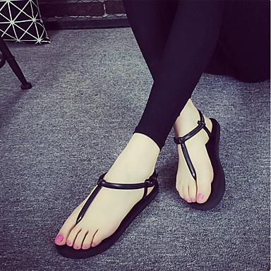 PVC Negro Sandalias Zapatos 06655156 Punta Melocotón Plano Confort Verano Dorado Tacón Mujer Pajarita abierta qPf5aF