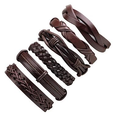 voordelige Herensieraden-6pcs Heren Lederen armbanden Gevlochten stack Klassiek Cowboy Modieus Cool Leder Armband sieraden Zwart Voor Ceremonie Causaal Straat