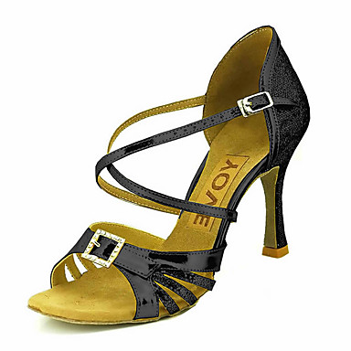 للمرأة أحذية رقص / أحذية سالسا بريّق / جلد صندل / كعب مشبك / عقدة شريطة كعب مخصص مخصص أحذية الرقص فضة / أزرق / ذهبي / أداء / متخصص