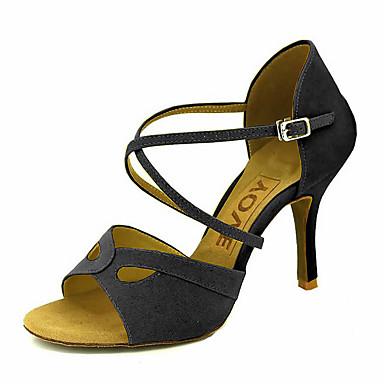 Mulheres Sapatos de Dança Latina / Sapatos de Salsa Camurça / Courino Sandália / Salto Presilha / Cadarço de Borracha Salto Personalizado