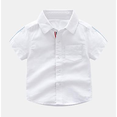 Dzieci / Brzdąc Dla chłopców Podstawowy Jendolity kolor Niejednolita całość Krótki rękaw Bawełna Koszula