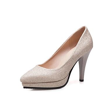 Chaussures à Printemps 06660033 Aiguille Talons Confort Similicuir Bout Noir Chaussures Talon pointu Argent Or Femme Automne awHqfX