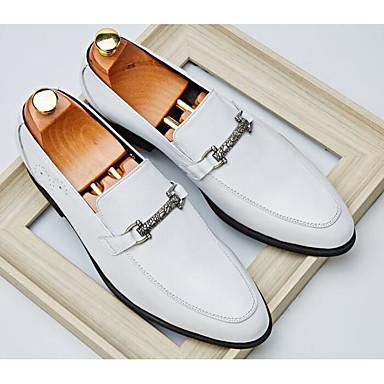 Męskie Buty Nappa Leather / Skórzany Jesień Comfort Mokasyny i pantofle White / Black / Burgundowy