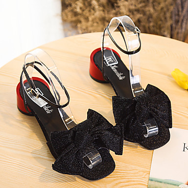 ouvert Talon Bas Polyuréthane Bride Cheville de Bride A Bout Chaussures Or Eté Femme 06716563 Marche Arrière Argent Sandales Noeud Noir qwC76PCg