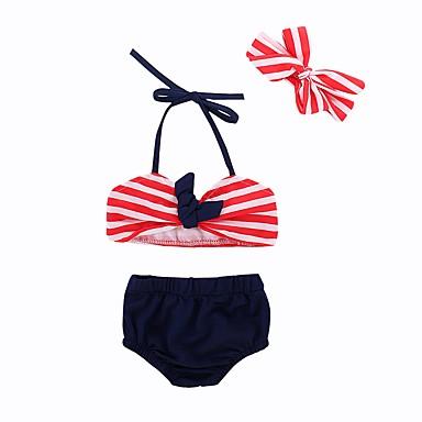 baratos Roupas de Banho para Meninas-Bébé Bebê Para Meninas Praia Listrado Estampado Roupa de Banho Vermelho
