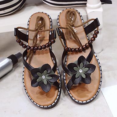 Verano 06698408 Confort Semicuero Mujer Tacón Plano Negro Zapatos abierta Sandalias Blanco Puntera SqqOwEBxP