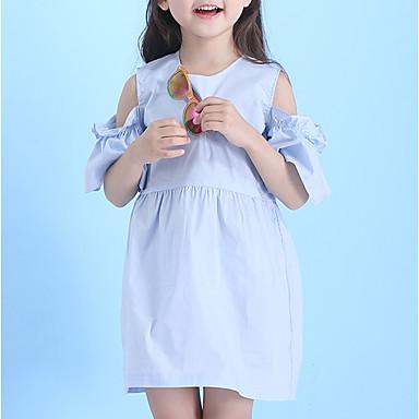 Dzieci Dla dziewczynek Aktywny / Słodkie Wyjściowe Jendolity kolor Plisy Krótki rękaw Do kolan Sukienka / Bawełna