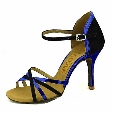 Mulheres Sapatos de Dança Latina / Sapatos de Salsa Glitter / Seda Sandália / Salto Presilha / Cadarço de Borracha Salto Personalizado