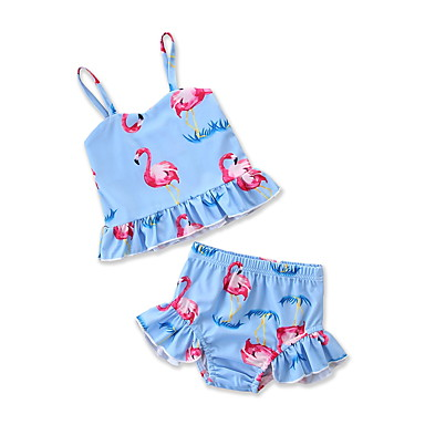 baratos Roupas de Banho para Meninas-Infantil Bébé Recém-Nascido Para Meninas Activo Para Noite Praia Flamingos Estampado Estampado Sem Manga Roupa de Banho Azul Claro