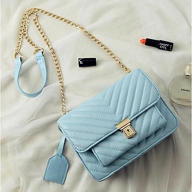 Pentru femei Genți PU piele Umăr Bag Buton Negru / Roz Îmbujorat / Albastru celest