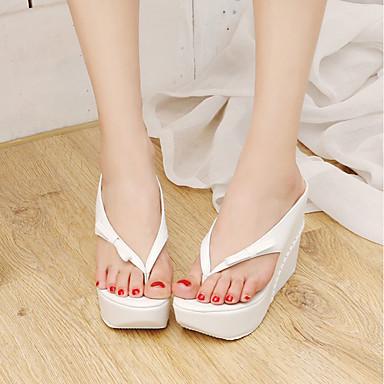 Sandales Blanc semelle Bout Hauteur ouvert Similicuir 06666040 Basique Escarpin Noir Eté de compensée Noeud Femme Chaussures Rose qw48xwX