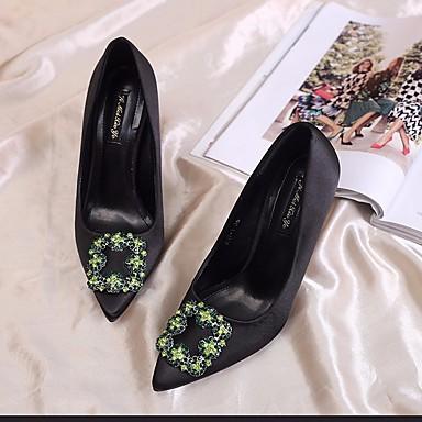 06686388 Printemps Chaussures Chaussures été Confort Noir Vert à Basique Escarpin Talon Soie Aiguille Talons Femme TS6wBEqw