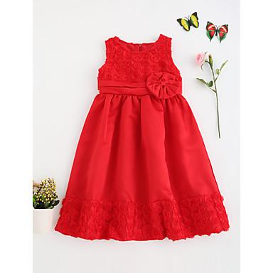 ccaec7ef23212 فستان كم قصير لون سادة مناسب للخارج دانتيل للفتيات طفل صغير   قطن