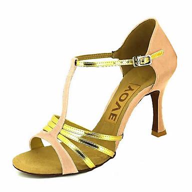 Mujer Zapatos de Baile Latino / Zapatos de Salsa Satén / Semicuero Sandalia / Tacones Alto Hebilla / Corbata de Lazo Tacón Personalizado Personalizables Zapatos de baile Bronce / Almendra / Nudo