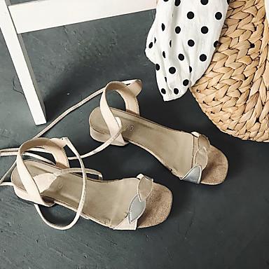 Verde 06697231 Bajo Dedo Negro Tacón Confort Zapatos Corbata Sandalias Almendra redondo Verano de PU Lazo Mujer YZxwCqOn