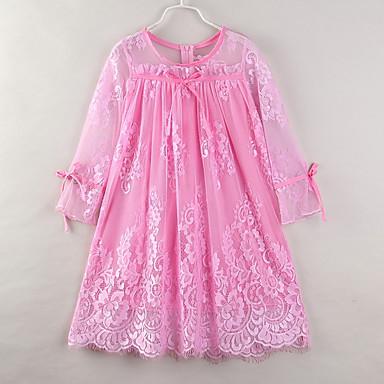 お買い得  女児 ドレス-子供 女の子 ベーシック ボヘミアン 日常 ビーチ ソリッド ラッフル フリル 長袖 ミディ アクリル ポリエステル ドレス ピンク