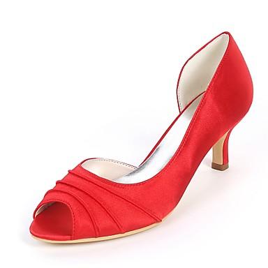 Pentru femei Pantofi Satin Primavara vara Balerini Basic pantofi de nunta Toc Mic Pantofi vârf deschis Drapat Părți Bleumarin / Maro