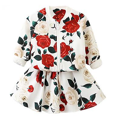 Dzieci Dla dziewczynek Podstawowy Kwiaty Długi rękaw Bawełna Komplet odzieży Biały
