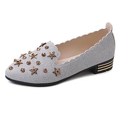 Damskie Obuwie PU Wiosna Comfort Mokasyny i pantofle Niski obcas Gold / Silver