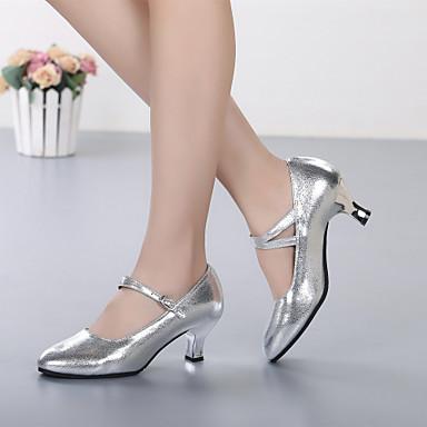baratos Shall We® Sapatos de Dança-Mulheres Pele Sapatos de Dança Moderna Salto Salto Personalizado Personalizável Dourado / Prata / Espetáculo