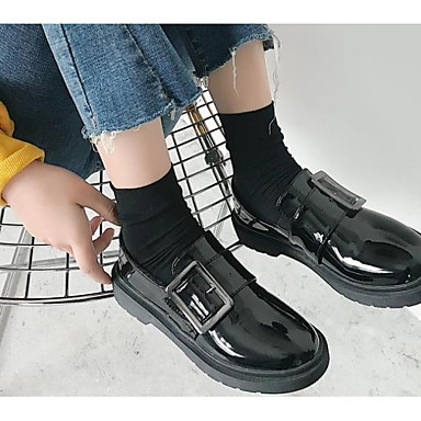 Pentru femei Pantofi PU Toamnă Confortabili Mocasini & Balerini Toc Îndesat Negru