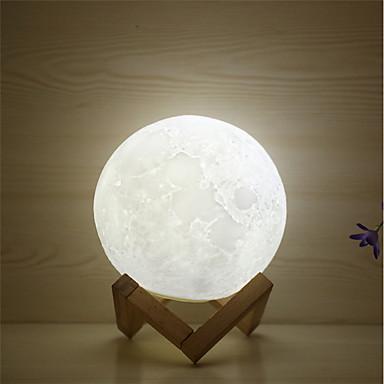 1 szt. MOON 3D Nightlight / Nocne oświetlenie przedszkola Ciepła biel / Biały / Żółty USB Dla dzieci / Można ładować / Przygaszanie Bateria / <5 V