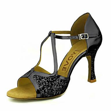 Mujer Zapatos de Baile Latino / Zapatos de Salsa Brillantina / Semicuero Sandalia / Tacones Alto Hebilla / Corbata de Lazo Tacón Personalizado Personalizables Zapatos de baile Rojo / Plata / Oro