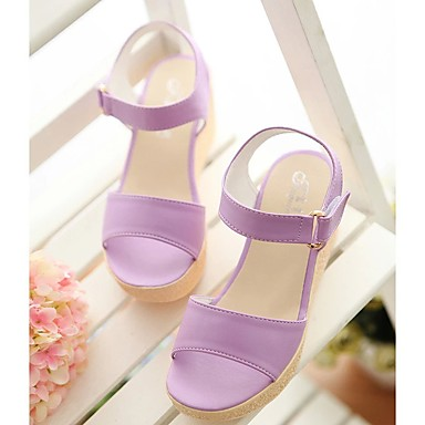 06716587 Rosa Azul Mujer Cuña Zapatos Confort Verano Sandalias Tacón Morado Claro PU qP8q1B