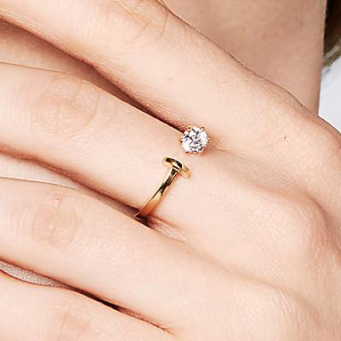 billige Motering-Dame Åpne Ring Diamant Kubisk Zirkonium Gull 18K Gullbelagt S925 Sterling Sølv Dainty damer Grunnleggende Bursdag Daglig Smykker
