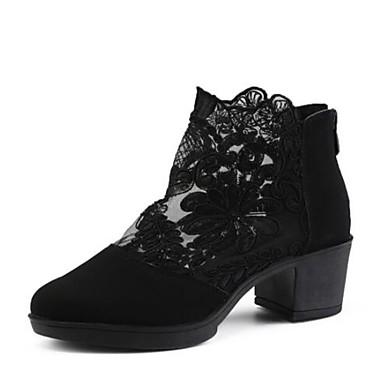 baratos Shall We® Sapatos de Dança-Mulheres Sapatos de Dança Renda / Veludo Botas de Dança Salto Salto Cubano Personalizável Preto / Espetáculo / Ensaio / Prática / EU39