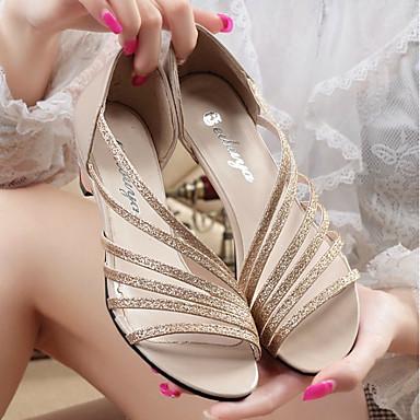 Damskie Obuwie PU Lato Comfort Sandały Gruby obcas Gold / Silver / Purple