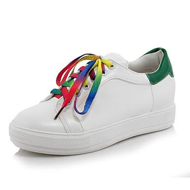 Paseo Zapatillas 06701907 Verde verano Zapatos Tacón Dedo Rojo Plano Primavera de PU Blanco Mujer deporte Confort redondo dXZ4x8wwqa