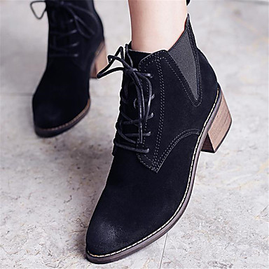 Bottine Femme De pour Combat Demi Automne Chaussures Cuir Talon Bottier rond boîtes plein 06682444 Noir de Nubuck hiver air Botte Bout Bottes rarOxwnT