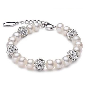 abordables Bracelet-Bracelet à Perles Femme Perle d'eau douce Perle Perle d'eau douce Boule dames Mode Bracelet Bijoux Blanc pour Soirée Quotidien